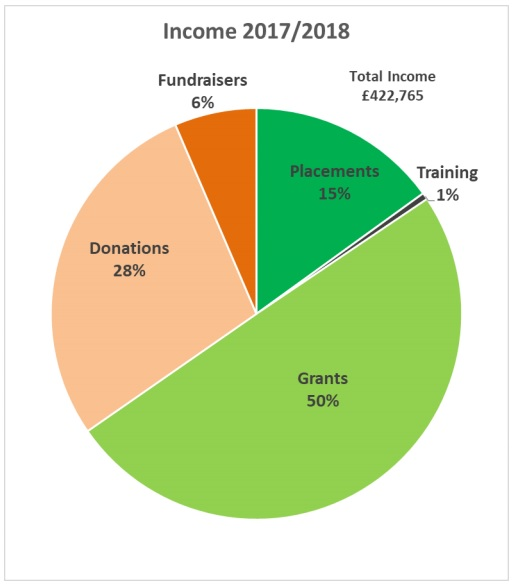 Pie chart graphic showing the difference income sources