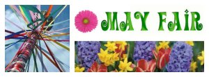 A picture of a maypole and flowers for the May Fair