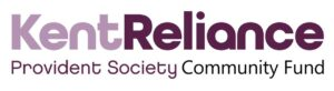 A white and maroon logo for Kent Reliance Society